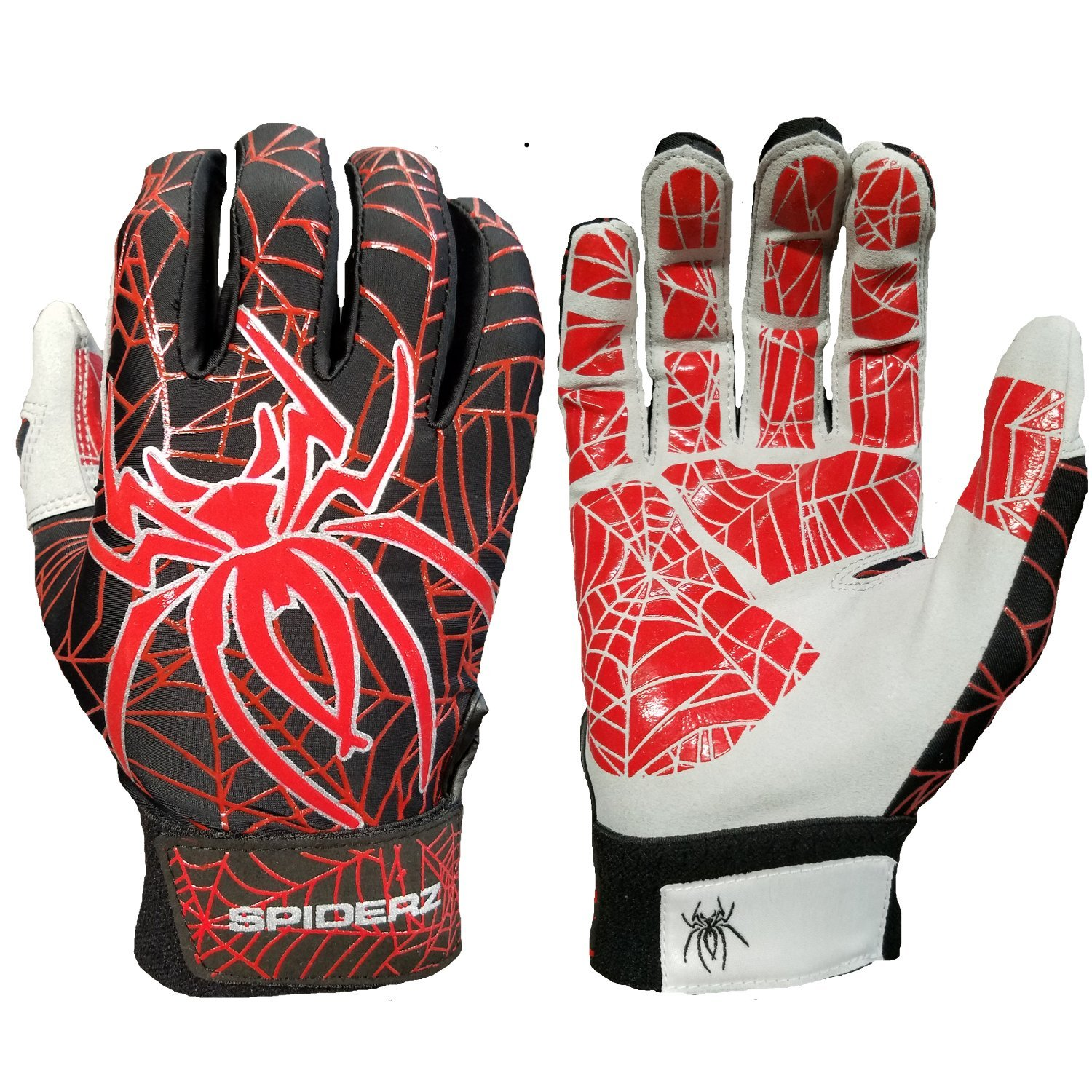 Spiderz Lite Batting Gloves with Enhanced Silicon Spider Webグリップ B07CBD948M Adult Small|ブラック/レッド/シルバー ブラック/レッド/シルバー Adult Small