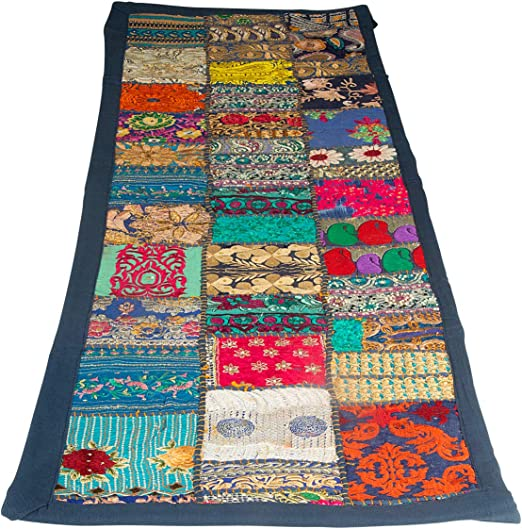 Antique Cotton Table Runner Hand Embroidery Patchwork Designer Table tapestry