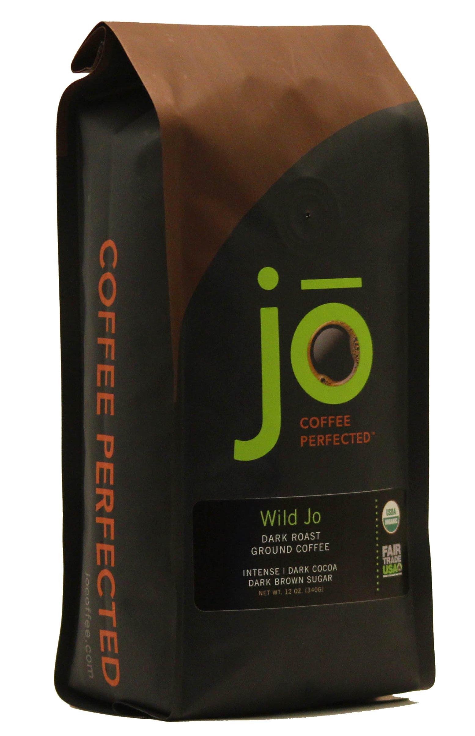 WILD JO: 12 oz, Dark French Roast Organic Coffee, Ground Coffee, Bold Strong Rich Wicked Good Coffee! Great Brewed or Espresso, USDA Certified Fair Trade Organic, 100% Arabica Coffee, NON-GMO