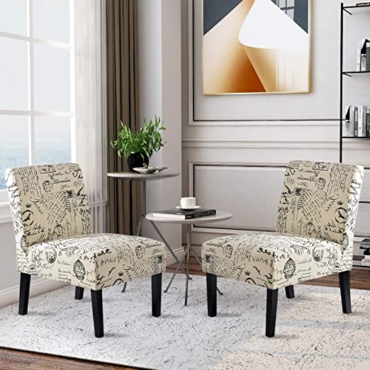 Upholstered Fabric Armless Accent Chair Set of 2, Slipper Chair for Living  Room, Bedroom, with Wood Frame and Legs
