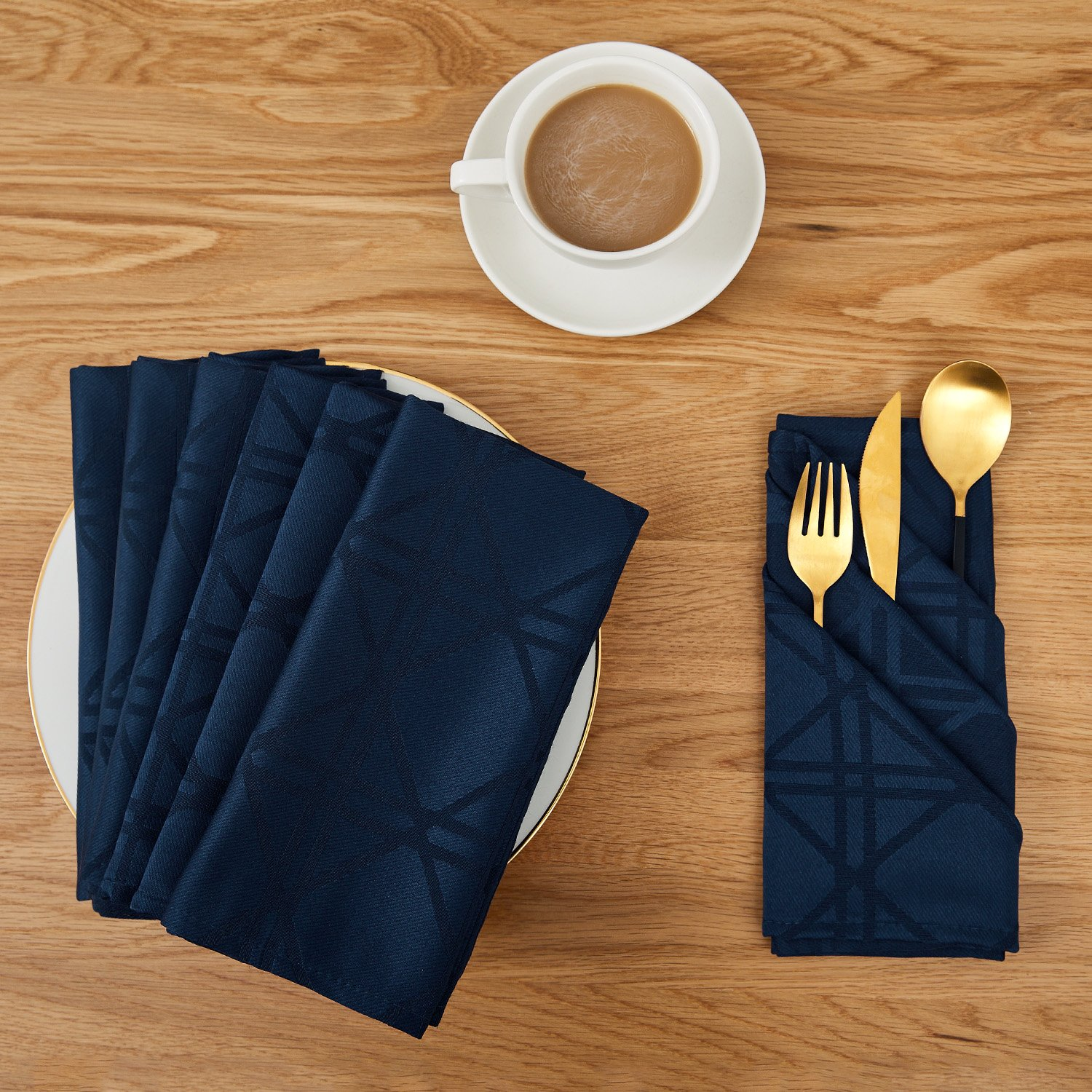 Deconovo Soft Jacquard Damask Dinner Cloth Napkins with Geometric Patterns 18 x 18 inch Stain and Spillproof Smooth Luxury Serviette for Banquets, Weddings, Family Gatherings Set of 6 Navy Blue
