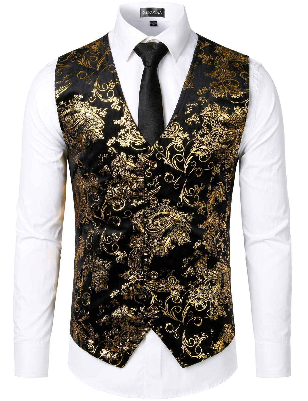 ZEROYAA Mens Hipster Gold Paisley Single Breasted Suit Dress Vest/Tuxedo Waistcoat Z49 Gold Medium by ZEROYAA