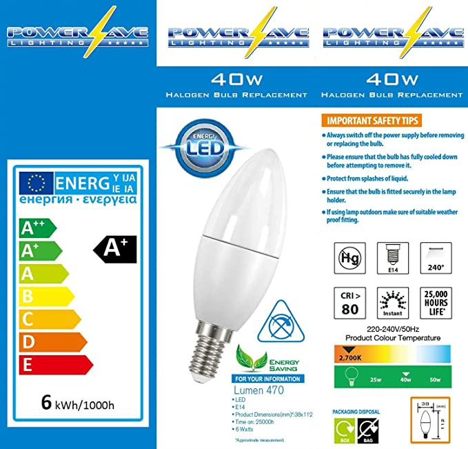 PowerSave® 6w LED Small Screw Cap SES E14 Candle 2700k Warm White 40w//60w ~s8228