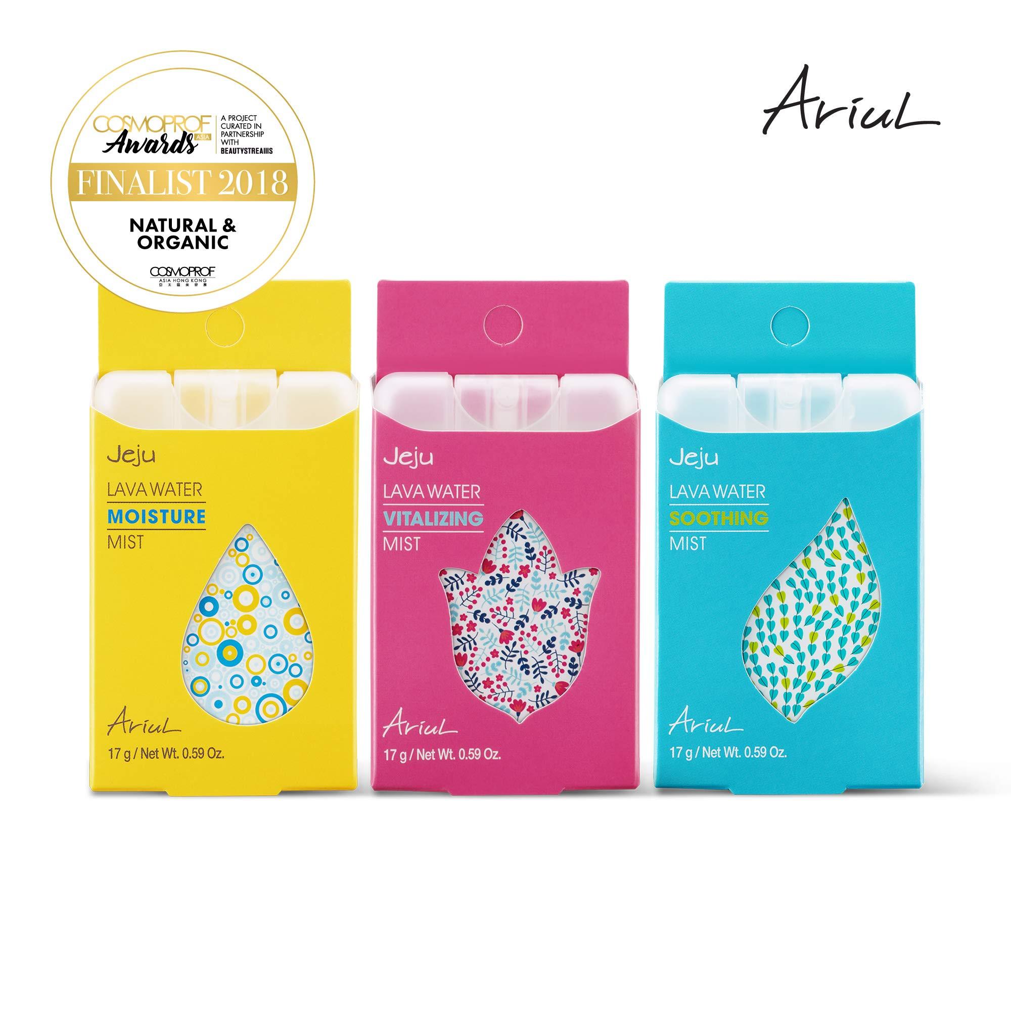 Ariul Jeju Lava Water Mist Bundle (1 Moisture, 1 Vitalizing, 1 Soothing, 0.59 oz each) Unscented 100% EWG Green Graded Nutrients, Pocket Travel Size Face Mist, Toner, Makeup Setting Spray