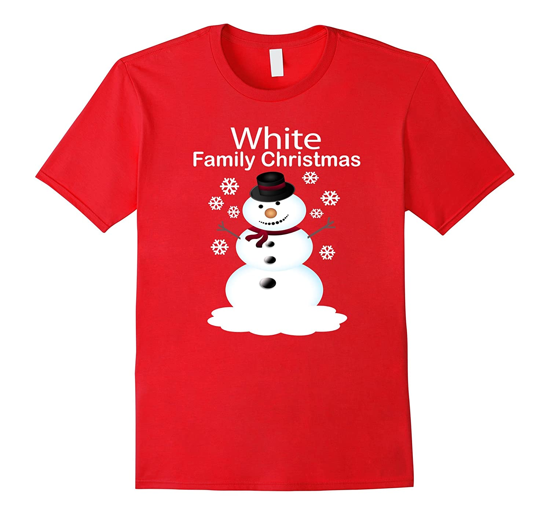 White Family Christmas Personalized Snowman Shirt-ANZ