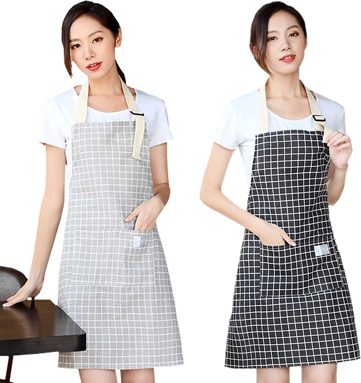 Cotton Adjustable Apron with Pockets Women Kids Men Bib Cute Chef Cooking Apron