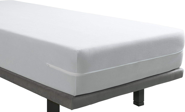 Tural – Funda de Colchón Elástica Rizo de Microfibra Tacto Seda. Talla 135 x 190/200 cm | Protector de colchón con Cremallera | para colchones de 30 cm de Alto
