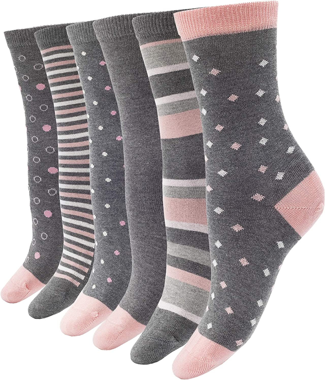 1Sock2Sock Women's Bamboo Thin Crew Socks 6 Pack Colorful Patterns Super Soft Fashion Casual Socks