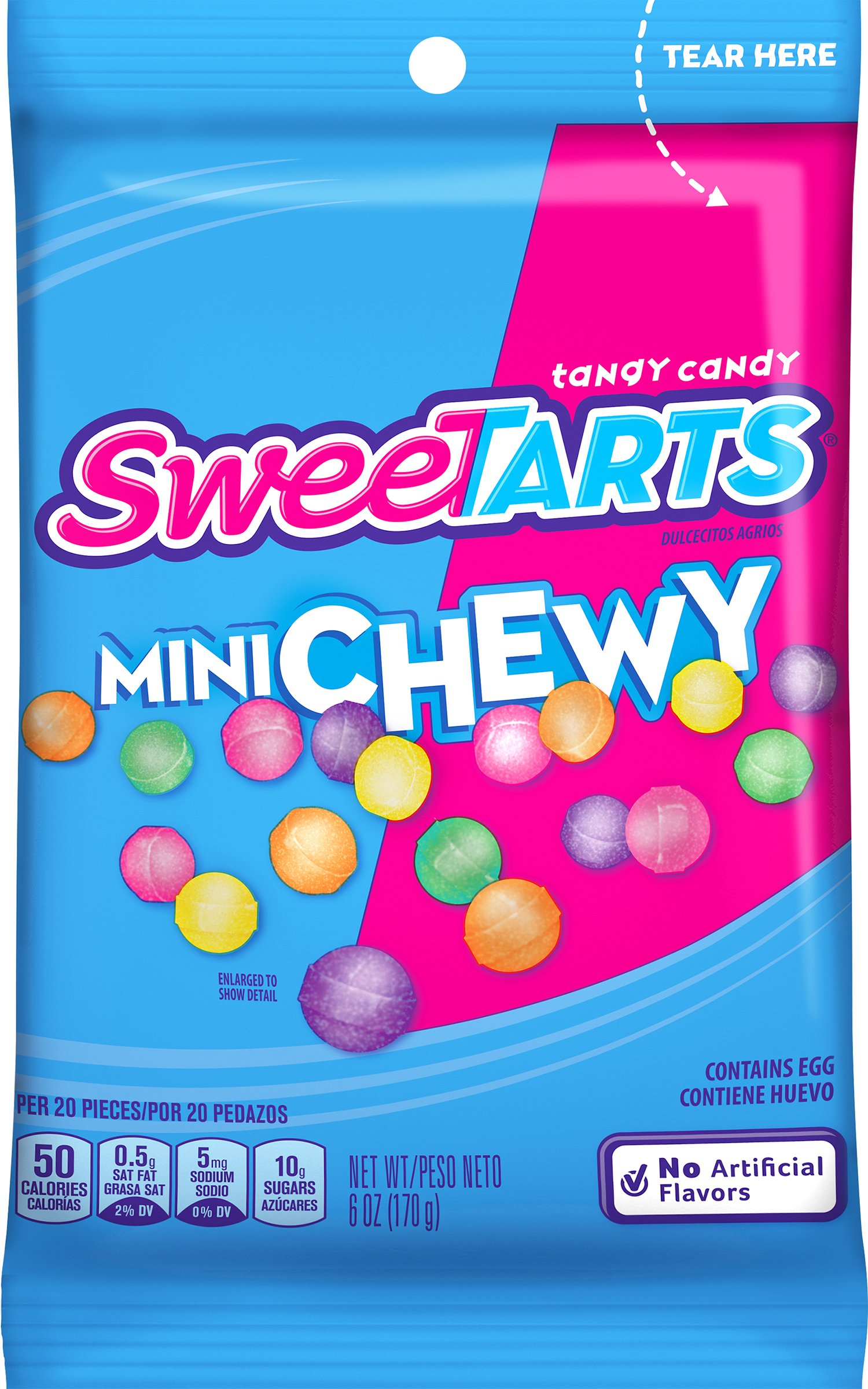 SweeTARTS Mini Chewy Candy Peg Bag, 6 Ounce (Pack of 12)