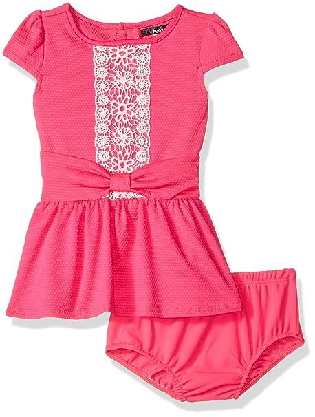 Amazoncom Kensie Girls Baby Knit Dress With Lace Crochet