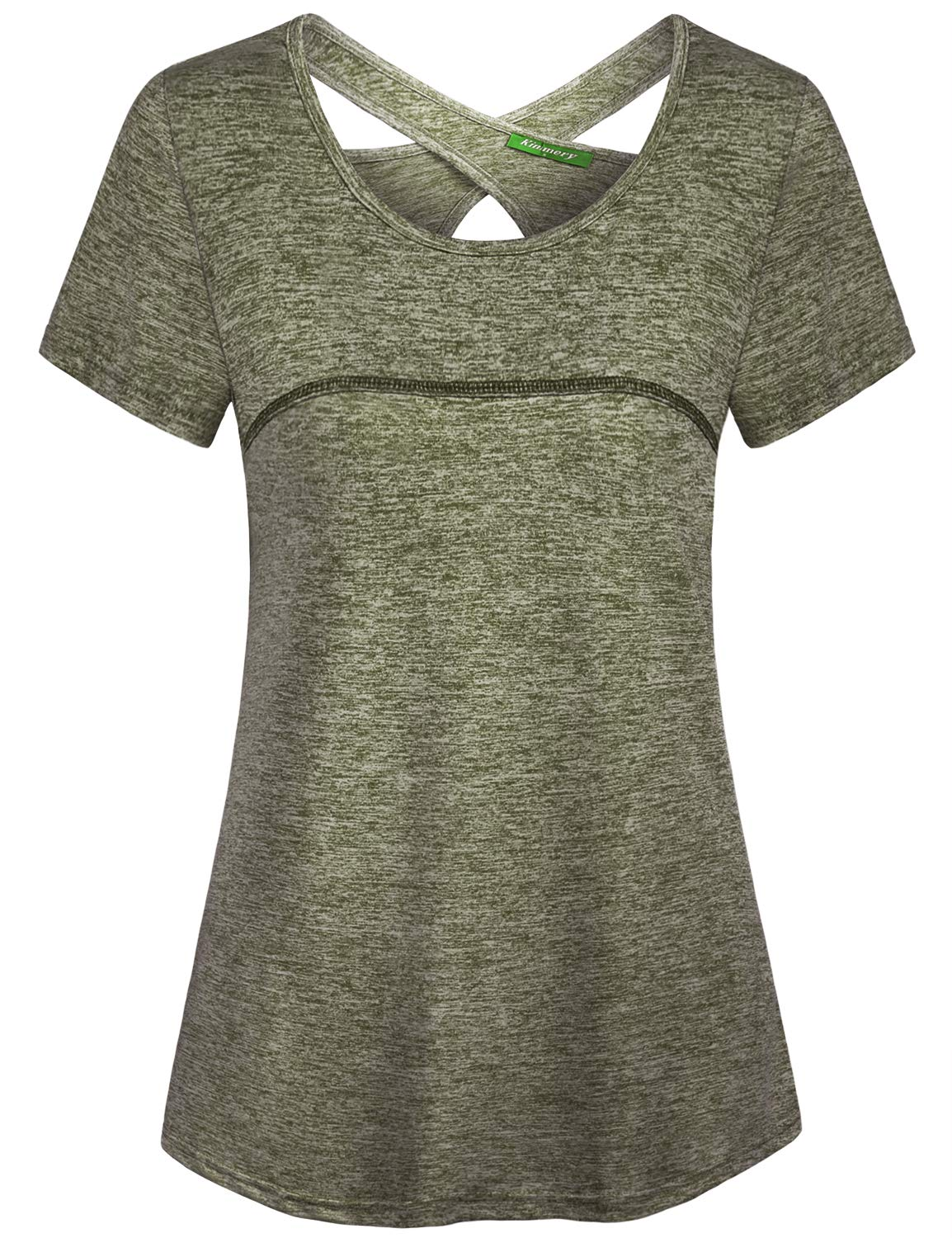 Kimmery Tunic Shirt,Women Loose Fit Short Sleeve Top Flowy Hemline Breathe Stretchy Tees Fashionable Design Summer Wicking Tunic Swing Beach Blouse Army Green XXL by connche