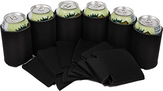 QualityPerfection 25 Black Blank Can Coolers - Drink Beer