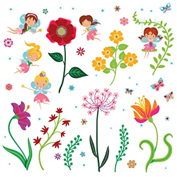 Fairy Flowers Garden Decorative Peel u0026 Stick Wall Art Sticker Decals for Kids Room and Nursery  sc 1 st  Amazon.com & Amazon.com: Fairy Flowers Garden Decorative Peel u0026 Stick Wall Art ...