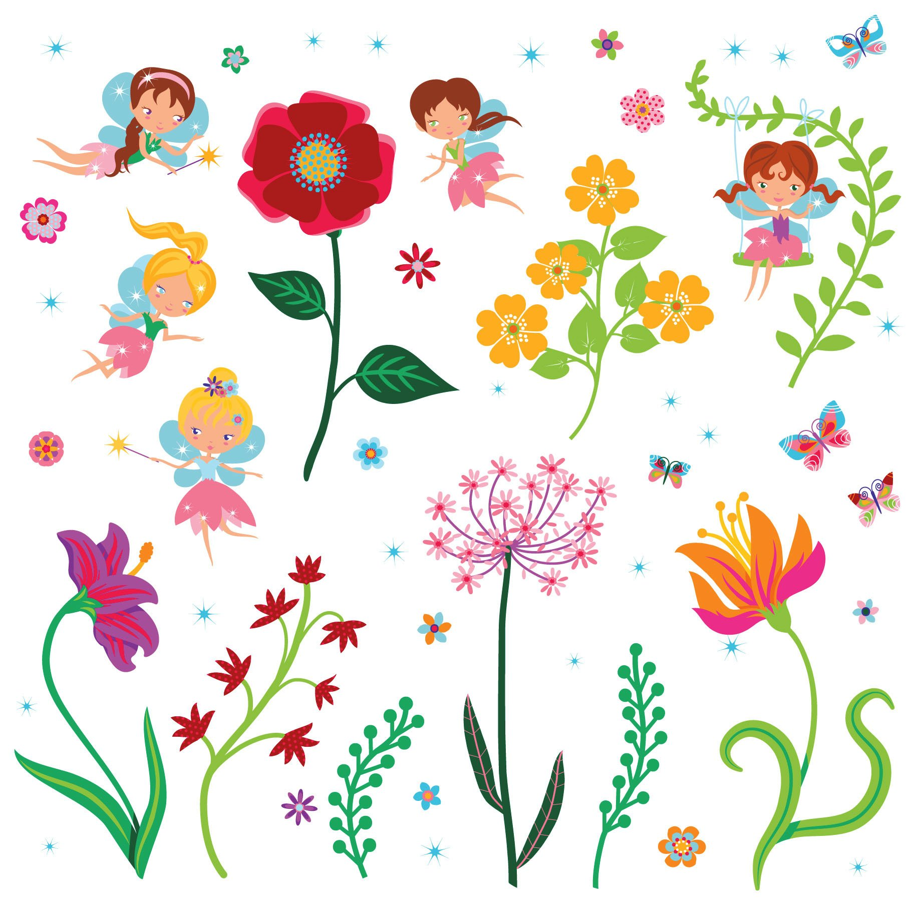 Fairy Flowers Garden Decorative Peel Stick Wall Art Sticker Decals For Kids Room And Nursery