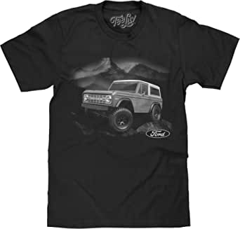 Tee Luv Ford Bronco T-Shirt - Retro 1970s Ford Bronco Mountain Graphic Tee