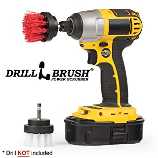 Drill Brush Power Scrubber - Drill Powered Scrub Brush Set - Rug and Carpet Stain Spot Cleaner - Small Round Brush - Spin Brush Set - Glass Cleaner - Upholstery and Leather Brush - Garden - Deck