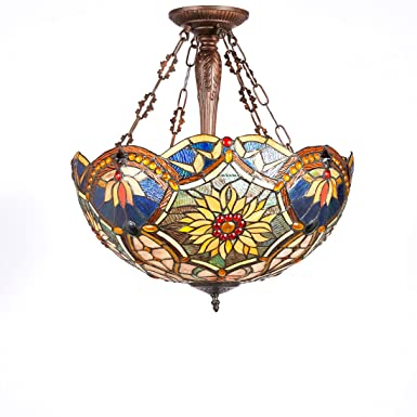New Legend Tiffany Style Stained Glass Victorian 3-Light Inverted Large Hanging Lamp Ceiling Fixture TL16018, 21-Inch wide