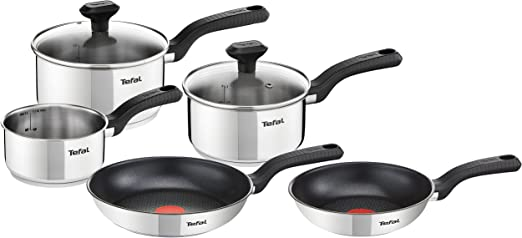Tefal 5 Piece Pots and Pans Stainless Steel Comfort Max Induction Set