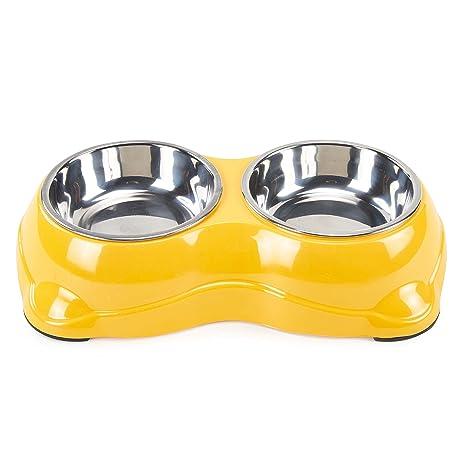 Comedero para PEQUEÑOS perros gatos mascotas Tazón de Acero Inoxidable 2x180ml Dispensador para agua comida con