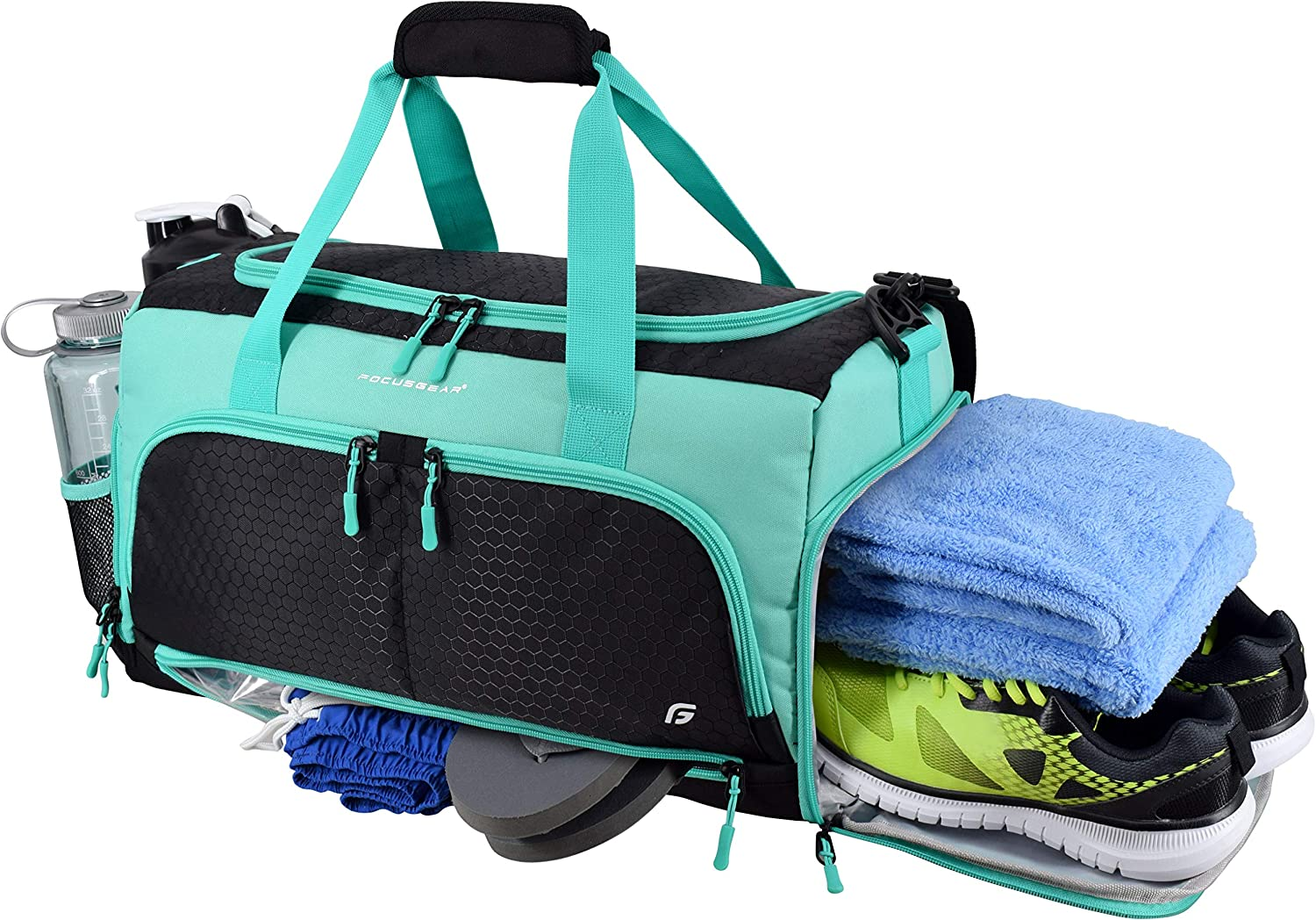 "Ultimate Gym Bag 2.0: The Durable Crowdsource Designed Duffel Bag with 10 Optimal Compartments Including Water Resistant Pouch (Teal, Small (15""))"