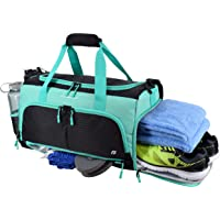 """Ultimate Gym Bag 2.0: The Durable Crowdsource Designed Duffel Bag with 10 Optimal Compartments Including Water Resistant Pouch (Teal, Small (15""""))"""