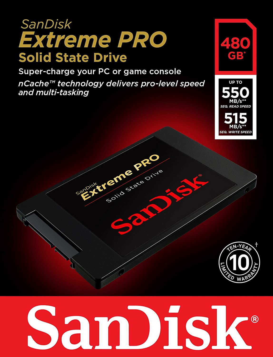 Buy sandisk 480gb extreme pro solid state drive features 480gb storage capacity, 550 mb/s sequential read speeds. Review sandisk internal drives, internal drives.