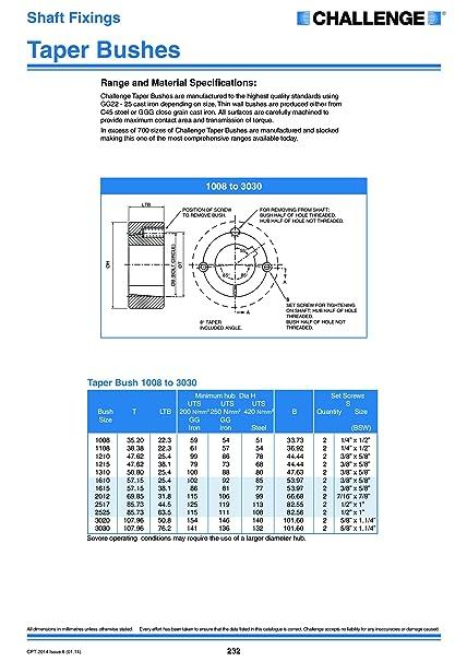 Challenge Tbm-2517 22/Fuseau Lock Bush 22/mm al/ésage