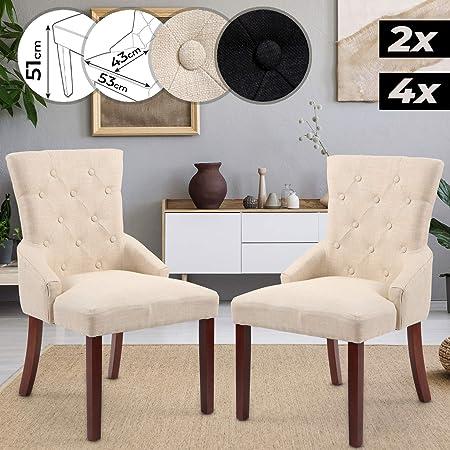 Scelta Beige Miadomodo Set di 2 sedie Sedia da Pranzo Sedia con Schienale Alto Imbottitura
