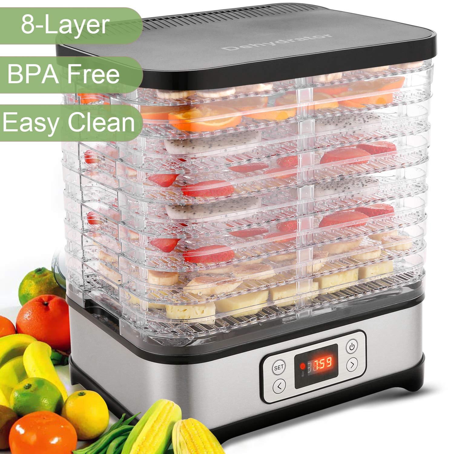 Food Dehydrator Machine – Jerky Dehydrators with 8 Trays, Digital Timer and Temperature Control BPA Free, 400Watt