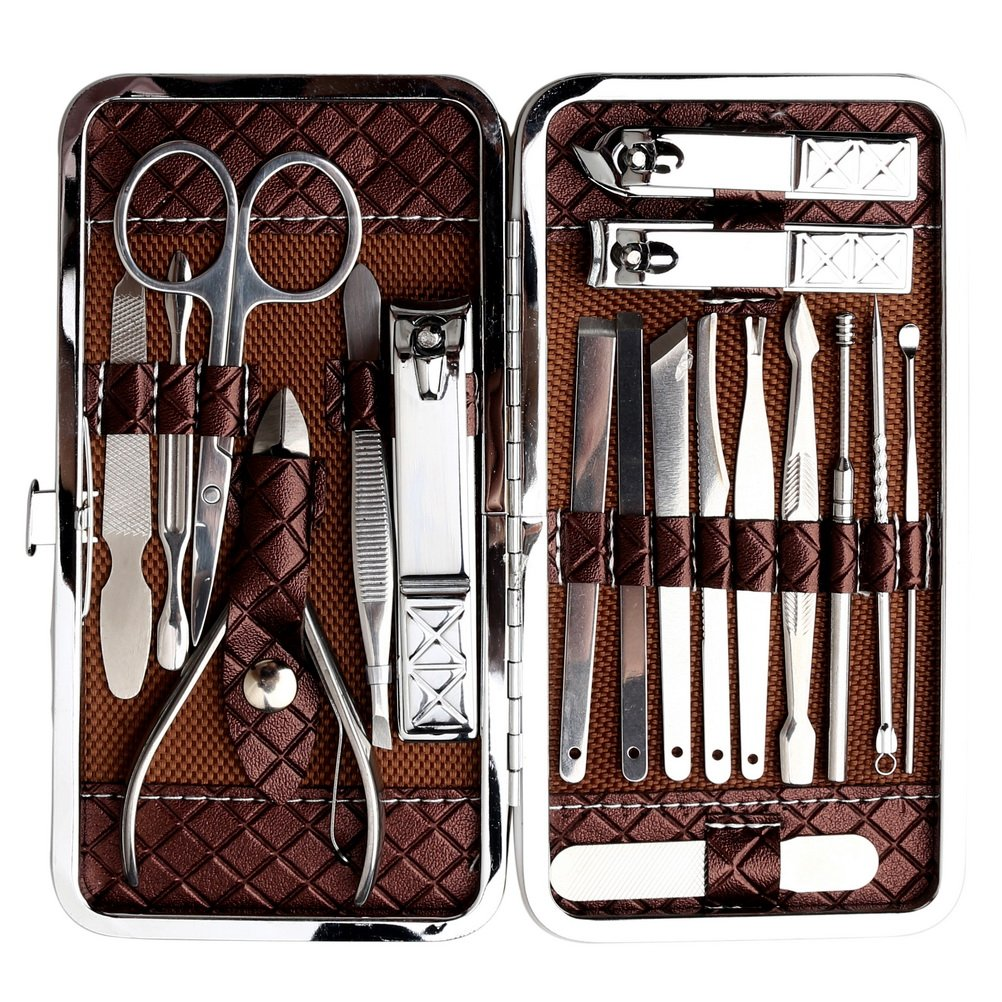 Zhiye 18 in 1 Nail Clippers Set Stainless Steel Nail Clipper, Professional Nail Scissors Grooming Pedicure Kit Manicure, Cuticle Remover Tools Portable Travel Case