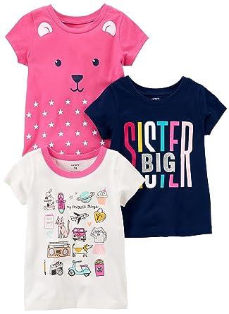 82da5a5a9 Amazon.com: Carter's Baby Girls' 3-Pack Short-Sleeved T-Shirt: Clothing