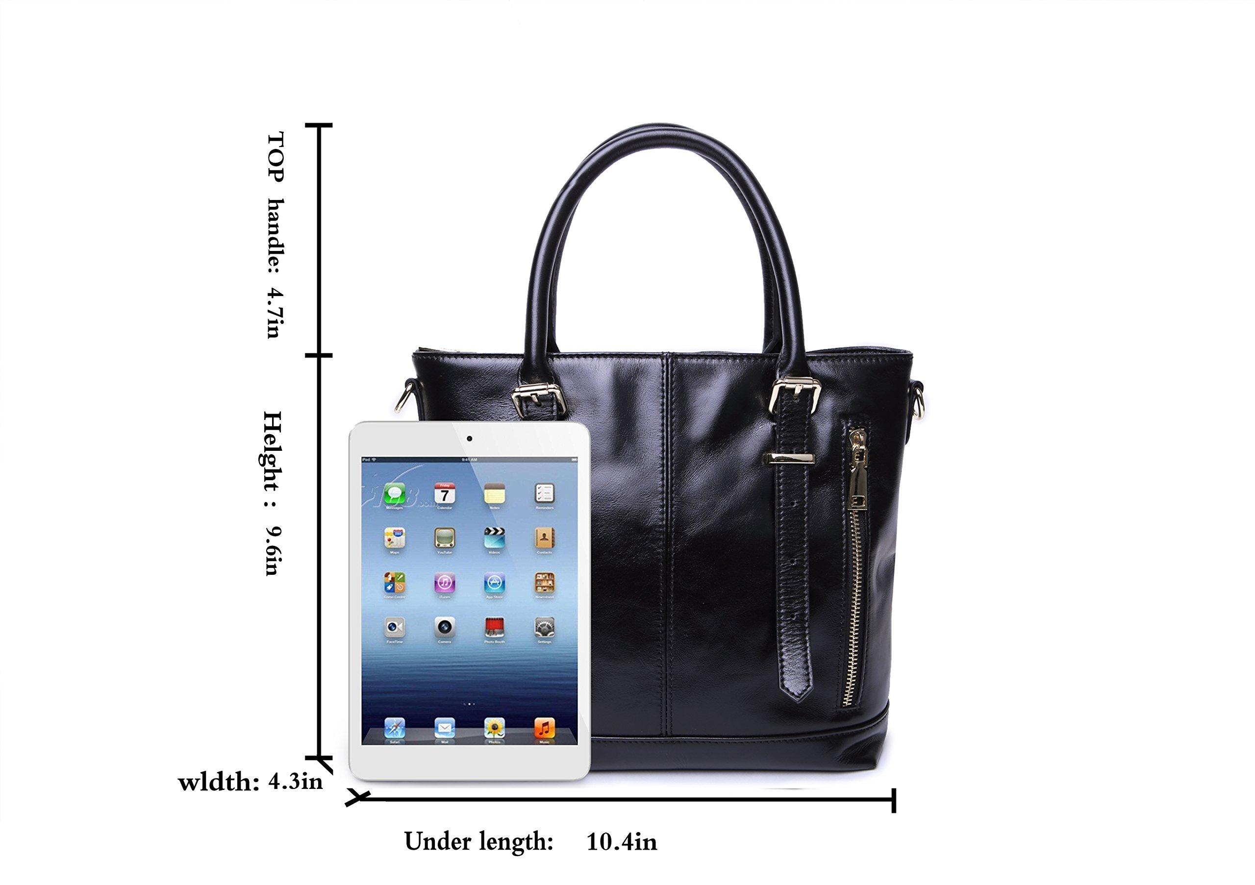 Yafeige Womens Leather Shoulder Handbags Satchel Tote Top Handle Bags Crossbody Handbag Purse for Ladies(Black) by Yafeige (Image #4)