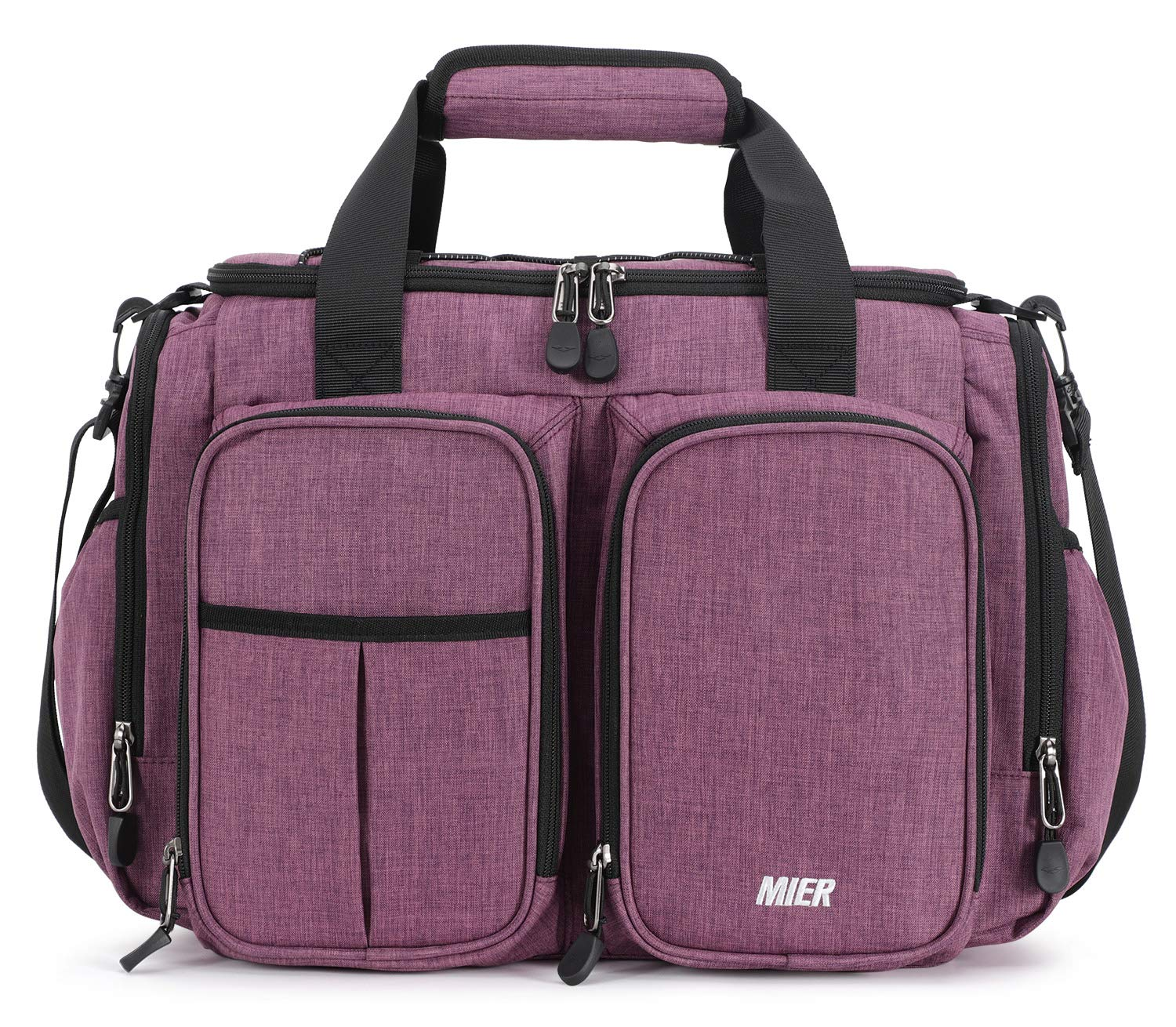 MIER Large Insulated Lunch Bag for Men Women Leakproof Soft Cooler Bag with Multiple Pockets, 20 Can, Rectangle, Purple by MIER
