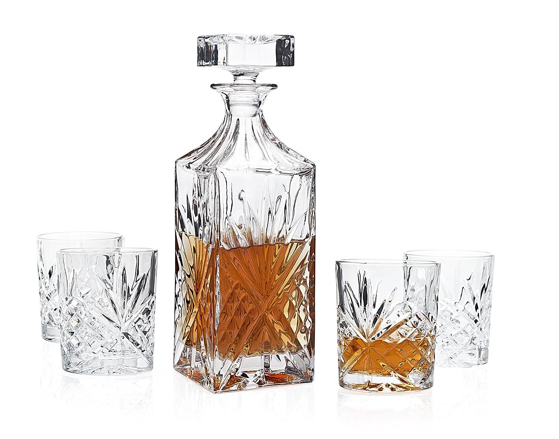 Dublin Whiskey Bar Set Decanter 4 Dof Glass Godinger Silver Art NA