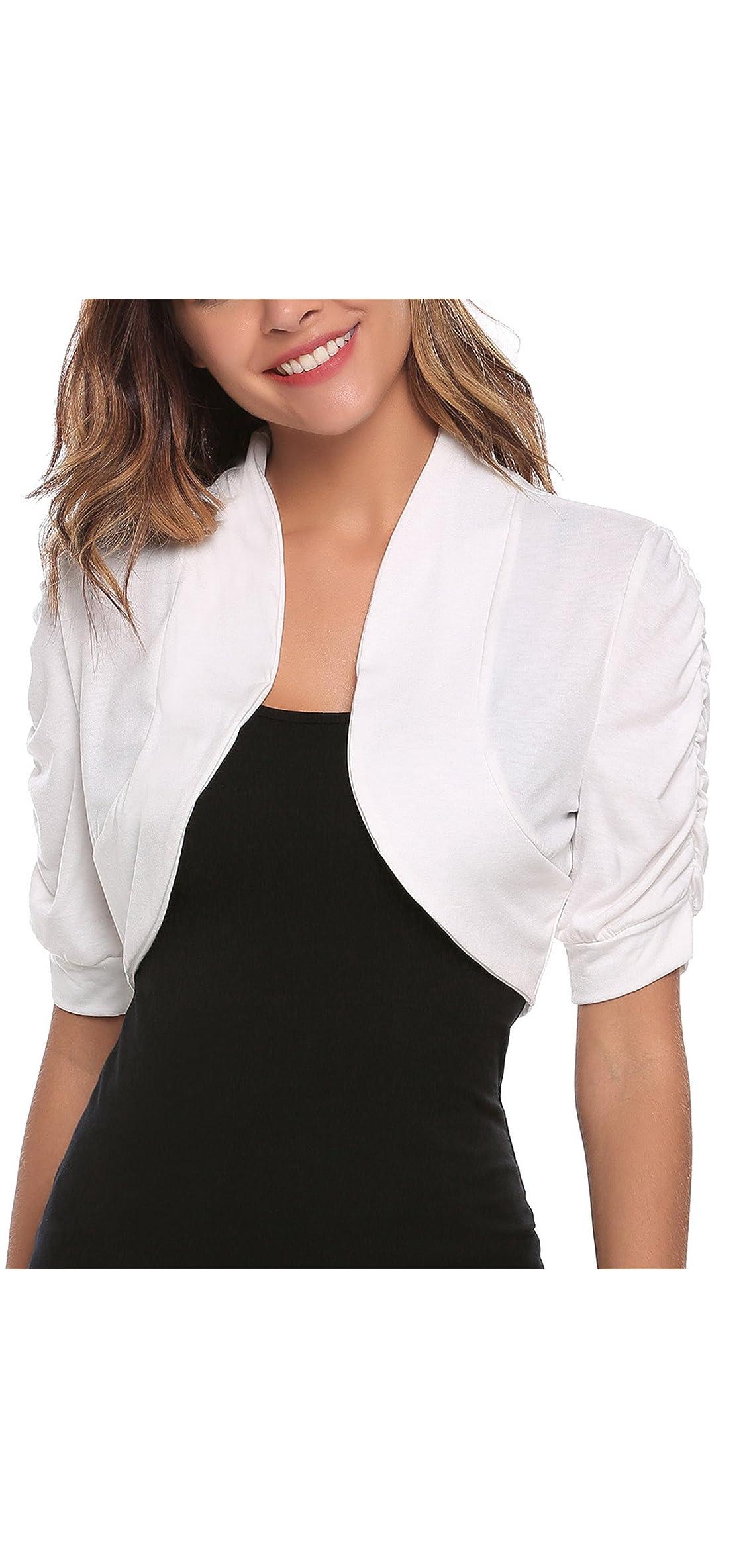 Women Short Sleeve Bolero Shrug Ruched Cropped Cardigan