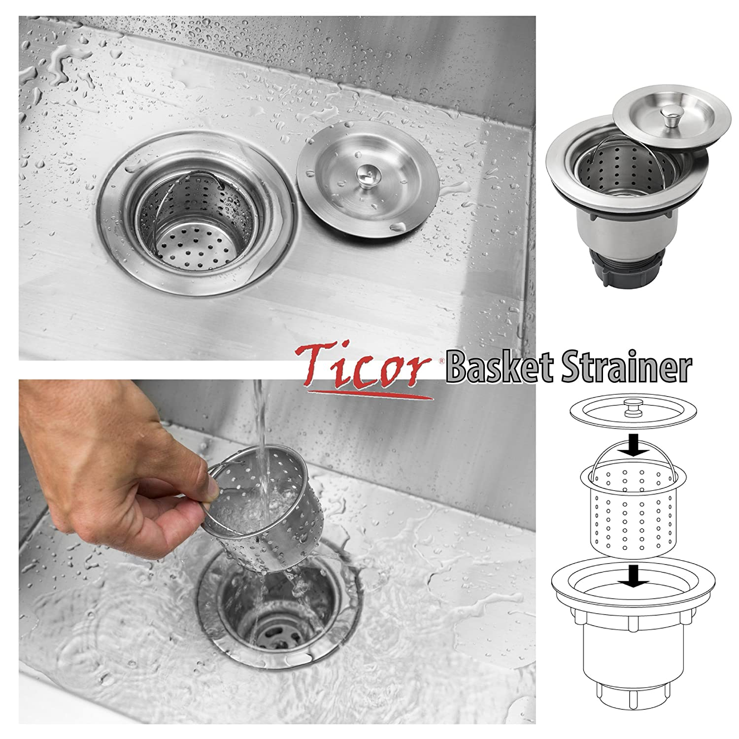 """Ticor 3 1 2"""" Pull Out Kitchen Sink Waste Basket Strainer Assemble"""