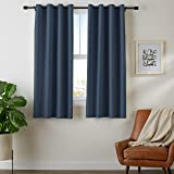 "Amazon Basics Room Darkening Blackout Window Curtains with Grommets - 52"" x 63"", Navy, 2 Panels"