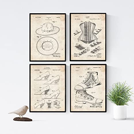Amazon.com: Nacnic Vintage - Pack of 4 Sheets PATENTS Moda ...