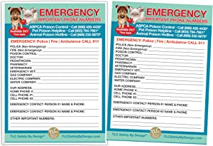 "TLC Safety By Design Emergency Contact Cards in Magnetic Sleeve Home Alone 5"" x 7"" Doctor Pediatrician Veterinarian Approved Refrigerator Safety Important Phone Numbers Call List"