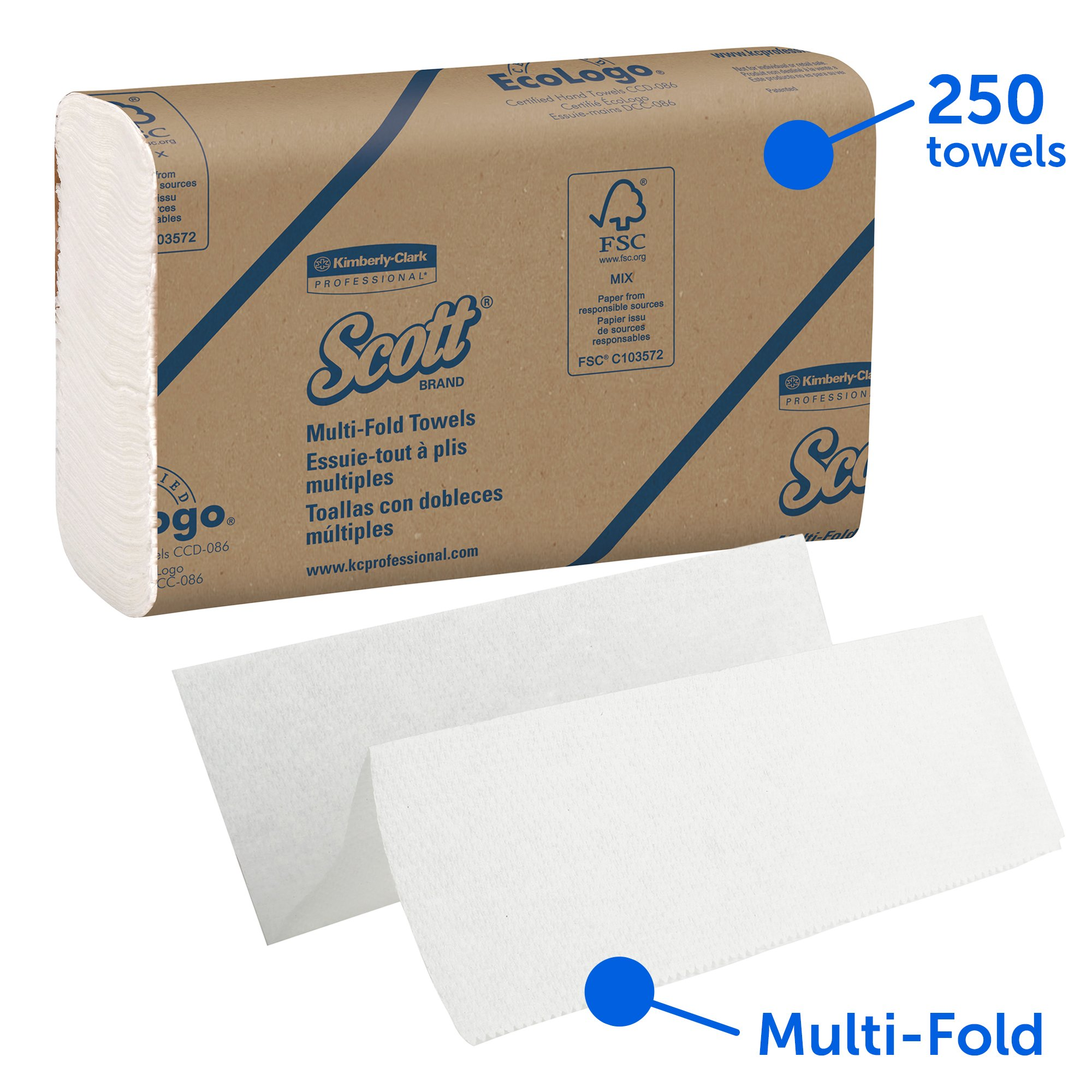 Scott 03650 Multi-Fold Towels, Absorbency Pockets, 9 2/5 x 9 1/5, White, 250 Sheets per Pack (Case of 12 Packs)
