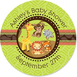 Custom FunFari - Fun Safari Jungle - Personalized Baby Shower or Birthday Party Favor Circle Sticker Labels - Set of 24