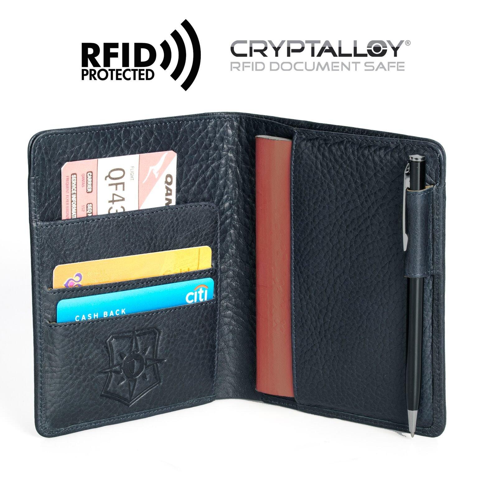 Pagalli Vincente Men Women Unisex Premium Genuine Leather RFID Blocking Pen Boarding Pass Credit Card ID Theft Protector Thin Slim Passport Travel Holder Wallet Wallets, Blue