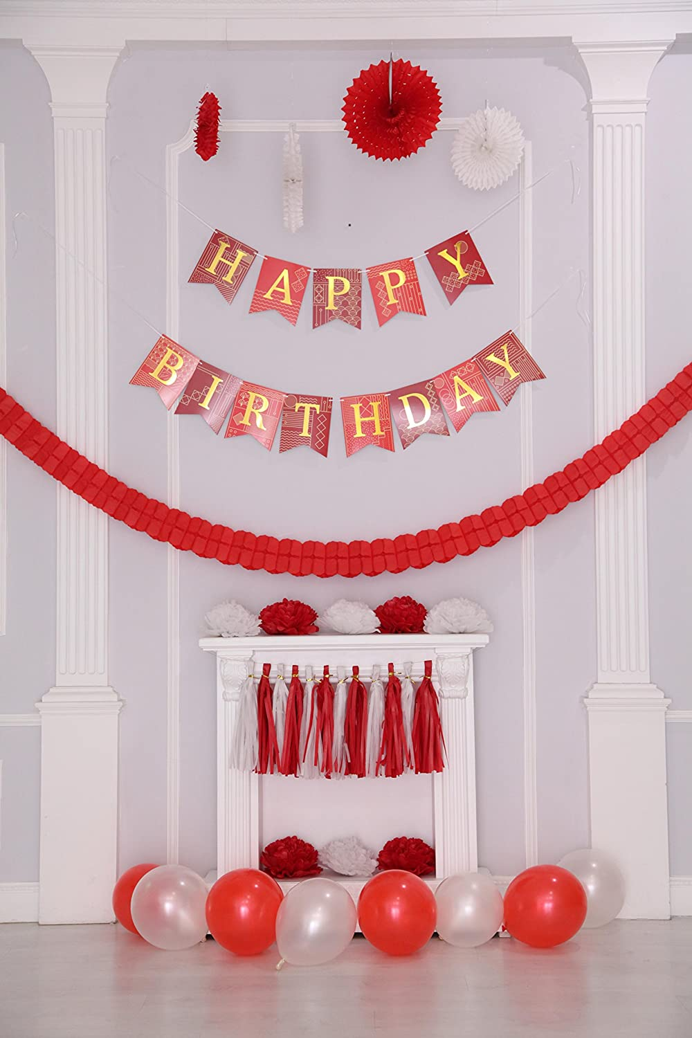 Paper Garland Pom Pom Flowers Balloons 46 pcs Red and White Birthday Party Decorations Happy Birthday Banner with Gold Foil Letters Tassels for Girl or Boy Party Decorations by Enfy Paper Fans