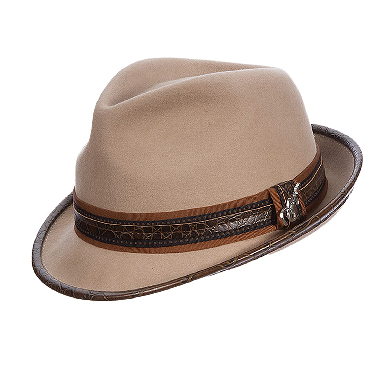 c60cc633afae4 Carlos Santana Wool Felt Fedora with Guitar Pin - Meditation (SAN216) at  Amazon Men s Clothing store