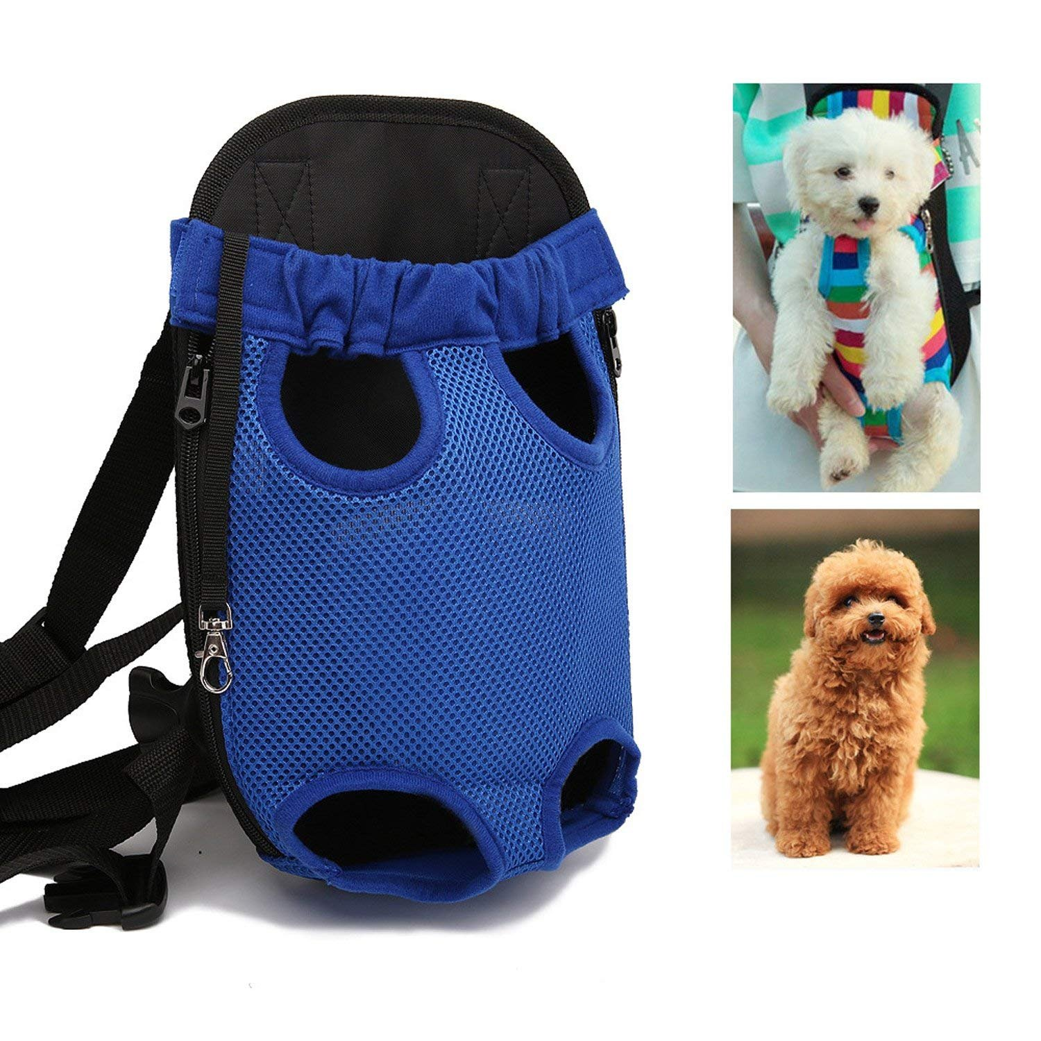 LEMONPET Dog Front Carrier Bag Adjustable, Legs Out, Pet Cat Dog Carrier Backpack for Walking, Traveling, Hiking, Camping, Bike and Motorcycle (Medium, Blue)