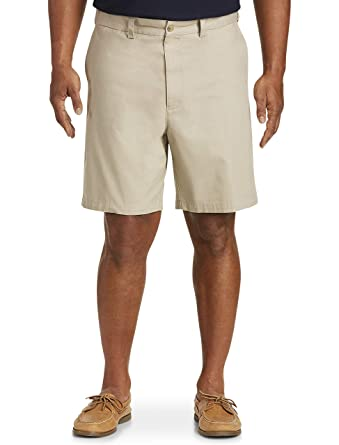 817c0d4a Harbor Bay by DXL Big and Tall Waist-Relaxer Flat-Front Shorts, Khaki