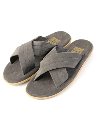 Suede Cross Strap Sandals 115-33-0095: Dark Grey