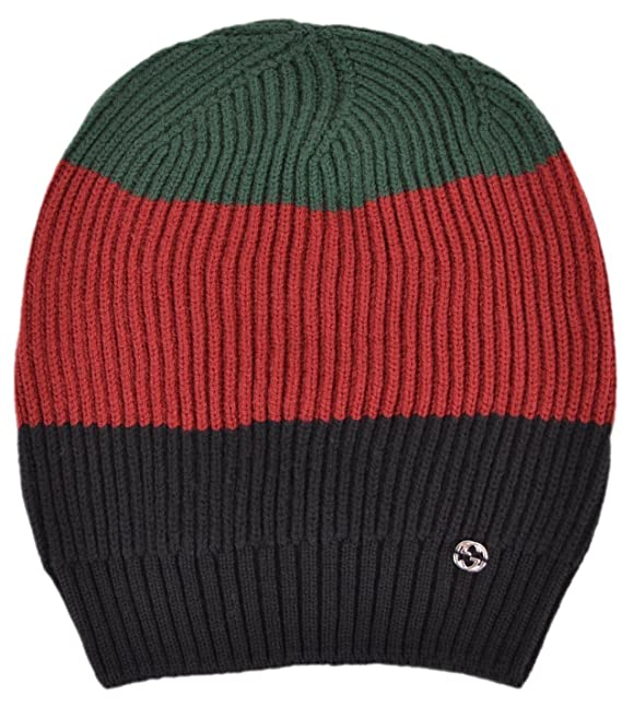 c39f9a5842d Gucci Men s Wool Red Green Black Interlocking GG Slouchy Beanie Hat   Amazon.ca  Clothing   Accessories
