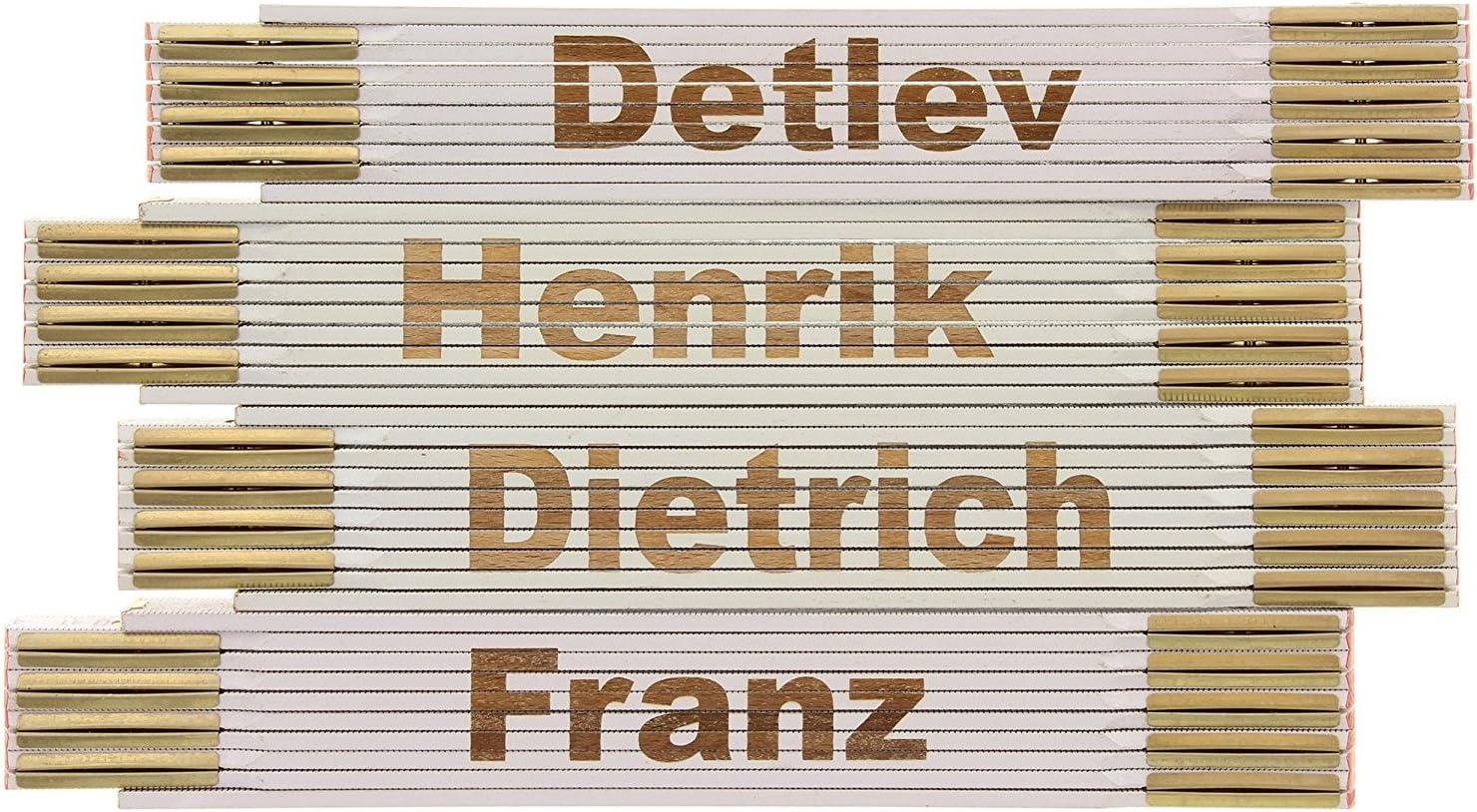 Gabriel MIK funshopping Zollstock Gliederma/ßstab aus Holz mit Lasergravur 2 Meter beidseitig beschriftet m/ännliche Vornamen von G bis M