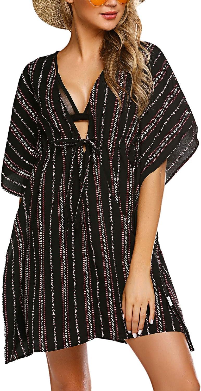ADOME Women/'s Swimsuit Beach Cover Up Floral Print Shirt Bikini Beachwear S-XXL
